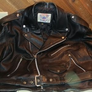 Vintage Vanguard  leather coat with painting